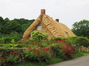 Пример дома с крышей из соломы