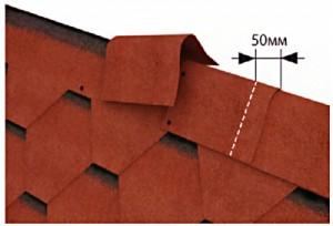 Пример монтажа конька из мягкой черепицы